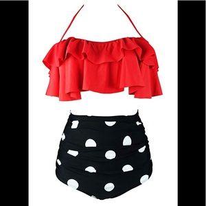 Women's Retro Boho Flounce High Waist Bikini NWOT
